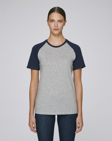 Baseball Short Sleeve Heather Grey French Navy
